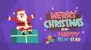Merry Christmas And Happy New Year Greeting Card Santa Sit On Present Box Winter Holidays Concept Banner. Flat Vector Illustration Stock Photo