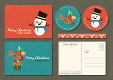 Merry Christmas and Happy new year greeting card set with cartoo stock photos