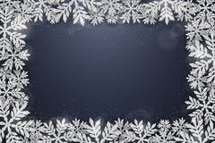 Christmas silver glittering snowflakes background Royalty Free Stock Images
