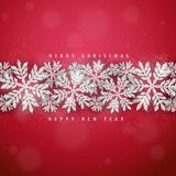 Christmas silver glittering snowflakes background Royalty Free Stock Image