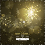 Merry Christmas and Happy New Year greeting card with snowfall, snowflakes and glare. Stock Photos