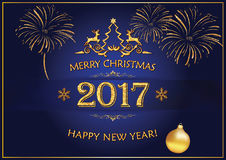 Merry Christmas, Happy New Year 2017 greeting card Royalty Free Stock Photo