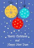 Merry Christmas and happy new year greeting card with stylized cartoon balls royalty free illustration
