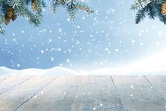Merry christmas and happy new year greeting card with table. Royalty Free Stock Images