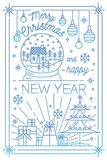 Merry Christmas and Happy New Year greeting card template with festive decorations drawn in line art style - snowflakes. Decorated spruce, gifts, baubles, snow Stock Photos