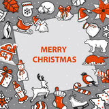 Merry Christmas and Happy New Year greeting card template Stock Image
