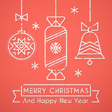 Merry Christmas and Happy New Year greeting card template vector illustration