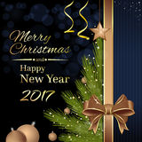 Merry Christmas and Happy New Year 2017. Greeting card. Merry Christmas and Happy New Year 2017. Christmas tree with Christmas decorations and gold ribbon and Royalty Free Stock Images