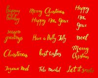 Merry Christmas. Happy New Year, 2018 greeting card. Typography xmas set with hand drawn text and design decoration Stock Photo