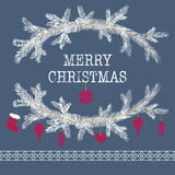 Merry christmas and happy new year greeting card vector backgrou. Merry christmas and happy new year greeting card wreath vector background Royalty Free Stock Photos