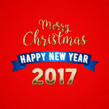 Merry Christmas and a Happy New Year 2017 Greeting Card. Vector background Stock Photography