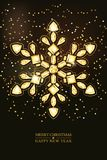 Merry Christmas, Happy New Year greeting card. Vector golden 3d style snowflake made from gold gems on black background. Holiday banner layout, flyer, poster vector illustration