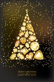 Merry Christmas, Happy New Year greeting card. Vector golden 3d style christmas tree made from gold gems on black background. Holiday banner layout, flyer vector illustration