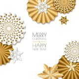 Merry Christmas, Happy New Year greeting card. Vector golden paper stars and snowflakes. Abstract white background. Merry Christmas, Happy New Year greeting Stock Photography