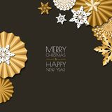 Merry Christmas, Happy New Year greeting card. Vector golden and white paper decoration snowflakes, stars. Royalty Free Stock Photography