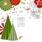 Merry Christmas, Happy New Year greeting card. Vector green and red paper decoration, snowflakes, Christmas tree. Royalty Free Stock Images