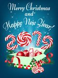 Merry Christmas and Happy New Year 2019 greeting card, vector il. Lustration stock illustration