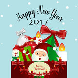 Merry Christmas and Happy new year 2017 Greeting Card, vector il Stock Image