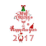 Merry Christmas and Happy new year 2017 Greeting Card, vector il Royalty Free Stock Images