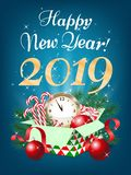 Merry Christmas and Happy New Year 2019 greeting card, vector il. Lustration vector illustration