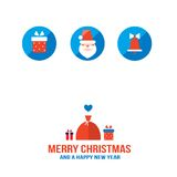 Merry Christmas and Happy New Year greeting card. Vector illustration Stock Images