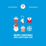 Merry Christmas and Happy New Year greeting card. Vector illustration Royalty Free Stock Photography