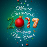 Merry Christmas and Happy New Year 2017 greeting card. Vector illustration Royalty Free Stock Photos