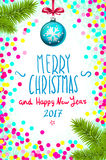 Merry Christmas and Happy New Year 2017 greeting card, vector illustration. confetti on the table, a hand-written inscription merr. Christmas and New Year Stock Photo