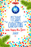 Merry Christmas and Happy New Year 2017 greeting card, vector illustration. confetti on the table, a hand-written inscription merr Stock Photo