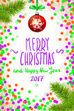 Merry Christmas and Happy New Year 2017 greeting card, vector illustration. confetti on the table, a hand-written inscription merr. Merry Christmas and Happy New Stock Illustration