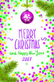 Merry Christmas and Happy New Year 2017 greeting card, vector illustration. confetti on the table, a hand-written inscription. Christmas and New Year greeting royalty free illustration