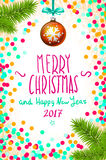 Merry Christmas and Happy New Year 2017 greeting card, vector illustration. confetti on the table, a hand-written inscription merr Stock Image