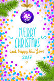 Merry Christmas and Happy New Year 2017 greeting card, vector illustration. confetti on the table, a hand-written inscription merr Royalty Free Stock Photography