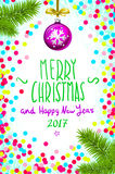 Merry Christmas and Happy New Year 2017 greeting card, vector illustration. confetti on the table, a hand-written inscription. Color handwritten calligraphic vector illustration