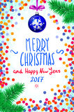 Merry Christmas and Happy New Year 2017 greeting card, vector illustration. confetti on the table, a hand-written inscription. Color handwritten calligraphic royalty free illustration