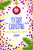 Merry Christmas and Happy New Year 2017 greeting card, vector illustration. confetti on the table, a hand-written inscription. Color handwritten calligraphic stock illustration