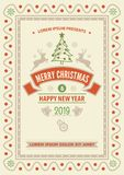 Merry Christmas and Happy New Year greeting card. royalty free illustration