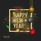 Merry Christmas and Happy New Year 2018 greeting card, vector illustration Royalty Free Stock Image
