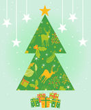 Merry Christmas and Happy New Year greeting card, vector illustration Stock Photo