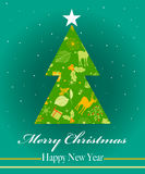 Merry Christmas and Happy New Year greeting card, vector illustration Royalty Free Stock Photo