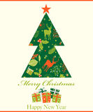 Merry Christmas and Happy New Year greeting card, vector illustration Stock Image
