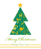 Merry Christmas and Happy New Year greeting card, vector illustration Stock Photos