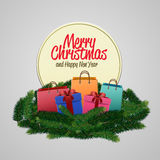 Merry Christmas and Happy New Year greeting card. Vector illustration. Xmas congratulation with colorful gift boxes, paper bags and christmas tree composition Stock Image