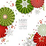 Christmas, New Year greeting card. Vector paper stars and snowflakes in green, red colors. Design for banner, poster. Merry Christmas, Happy New Year greeting Royalty Free Stock Photography