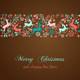 Merry Christmas and Happy New Year greeting card. Merry Christmas and Happy New Year vintage greeting card background. EPS10 file organized in layers for easy stock illustration