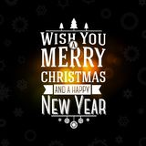 Merry Christmas and Happy New Year greeting card. With vintage stylized typography on modern blurred bokeh background with orange shining Royalty Free Stock Image