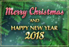 Merry Christmas and Happy new year 2018. Greeting card for web and print Stock Photography