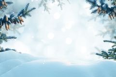 Merry Christmas and happy new year greeting card. Winter landsca royalty free stock photo
