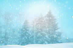 Merry Christmas and happy new year greeting card. Winter landscape with snow .Christmas background with fir tree branch and cones royalty free stock photo