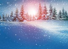 Merry Christmas and happy new year greeting card. Winter landsca royalty free stock images
